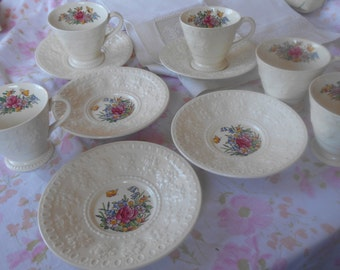Set of Five Demitasse Cups and Saucers, Wedgewood Wellesley China made in England