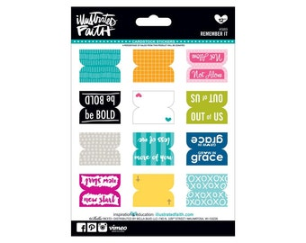 Remember It - Cardstock Tab Stickers from Illustrated Faith - 12 Pieces - Use for Scrapbooks, Journals, Bibles, Handmade Cards