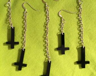 Black laser cut inverted cross dangly earring