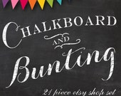 Etsy Banner Cover Set - 20 Piece Chalkboard DIY Template Editable Shop Banner Template Set - Etsy Cover Etsy Shop Set Banner Etsy Template