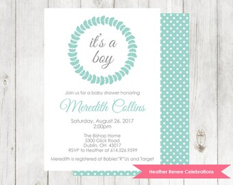 Baby Boy Shower Invitation | Printable Polka Dot Baby Shower Invitation | Baby Sprinkle Invite