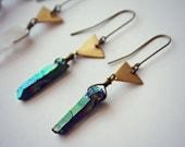 quartz triangle earrings, crystal earrings, crystal jewelry, quartz jewelry, titanium quartz earrings, triangle earrings, mineral earrings