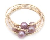 Dark Pink Special 11mm Freshwater Pearl Bangle 14kt Gold Filled