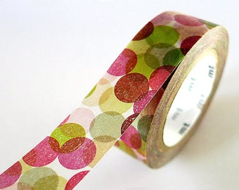 SALE - Multi Colors Big Dot Washi Tape, MT Tape, Masking Tape, Paper Tape for Christmas - Red and Green, 15mm wide