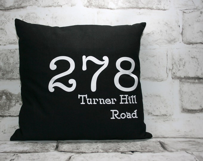 Featured listing image: Custom Street Address Pillow Cover, 16x16