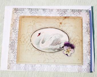 Swan Inspirational Greeting Card - Blank Inside - Handmade by Harmonee's Creations