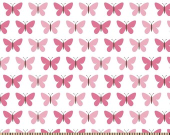 Snuggle Flannel Prints - Butterfly Set Pink -  35 inches