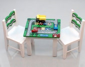 Play Table & 2 Chairs TOWN MAP with ROADS, 3 Vehicles Included 1:12 Dollhouse Miniature Furniture Hand-Painted Child Baby Boy