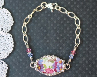 Broken China Bracelet, Broken China Jewelry, Pink and Blue Floral, Sterling Silver Chain, Soldered Jewelry