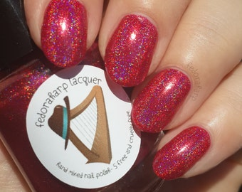 Wanda Maximoff (mini & full size)- Red holographic indie polish by Fedoraharp Lacquer