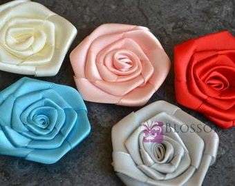 "The Laura Collection - 2.5"" Satin Rolled Ribbon Flowers - You Pick Colors - DIY Flower Headbands - Petite Rosettes - Large Ivory Red"