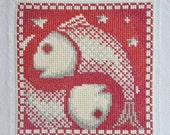 Finished / Completed Cross Stitch - Lanarte - Red Signs of the Zodiac: Pisces (34971A) crossstitch counted cross stitch