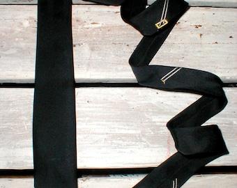 Thin Black Necktie With Subtle Art Deco Design *Madmen* Rockabilly