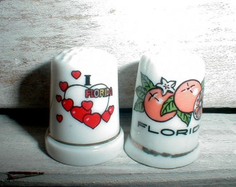 Two Florida Porcelain Thimbles *Bright Graphics*