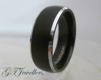 Tungsten Ring, Black Tungsten Brushed Band, Wedding Ring, Comfort Fit, Dome, Mens Ring Womens Ring 8mm Silver, Anniversary - Custom