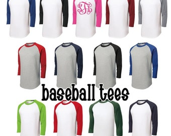 Monogrammed Raglan T-Shirt lots of colors available Adult sizes Small to 3X