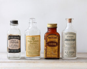 Vintage antique apothecary glass bottles / medical history collectible / pharmacy patent medicine / G E Greene / J R Watkins / Blair / Bayer