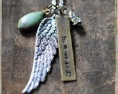 Faith Necklace, Christian Gift, Inspirational, Adoption, Angel Wing Charm by rubiesandwhimsy