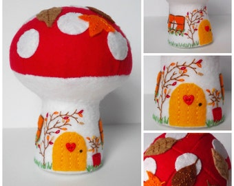 Autumn Cottage, mushroom house, toadstool, fall, fairy house.