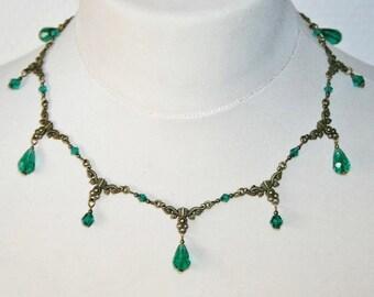 Necklace 'Elegance' withemerald green crystal beads, art nouveau, victorian * Elegant Curiosities *