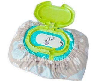Baby wipe cover, elephants, blue, teal, gray, wipe cover, cover for baby wipes, diaper wipe cover, cover diaper wipes, wipe covers, wipe bag