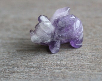 Amethyst Stone Flying Pig Animal Figurine F115