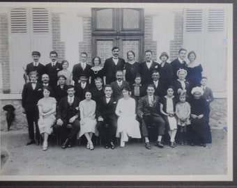 Original French 1930's Large Sepia or Black and White Wedding Photograph Photo: Vintage Bridal Party
