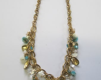 Vintage Jewelry Gold tone chains necklace with glass bead dangles.21 inch no markings.
