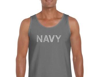 Men's Tank Top - Navy - Anchors Aweigh Lyrics