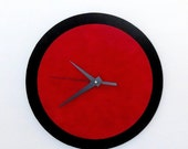 CIJ Sale, Wall Clock, Red and Black, Retro Clock,  Home and Living, Home Decor, Decor and Housewares, Home and Living, Unique CLock