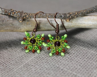 Forest earrings, beadedearrings, green and brown, woodland, birthday gifts, gifts to her
