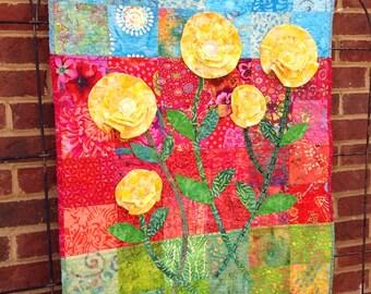 Art Quilt Wall Hangings, Art Quilts, Wall Art Quilts, Baby Girl Quilts, Appliqued Quilts, Girl Quilts, Flower Quilts