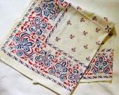 Vintage Bandana 100% Cotton Red White & Blue Retro Unisex Hipster Neckerchief Kerchief Cowboy Cowgirl Handkerchief Western Style Accessory