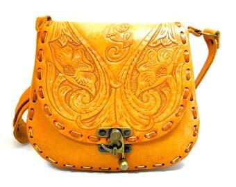 Vintage Country Western Handtooled Leather Shoulder Handbag Purse
