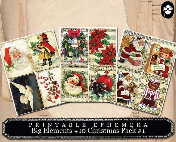 Printable Ephemera - Big Elements # 10 Christmas Cards - 3 Page Instant Download - christmas printable, journal cards, digital download