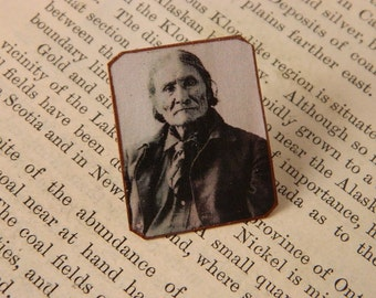 Geronimo Lapel Pin Native American inspired Brooch Hat Pin mixed media jewelry