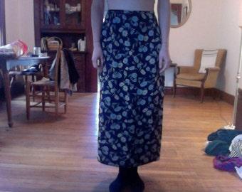 blue floral long skirt