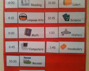 School Schedule, Kids Schedule, Pocket Chart Schedule, Visual Schedule, Laminated, Pocket Charts, Pocket Chart Pieces, Homeschool, Teachers