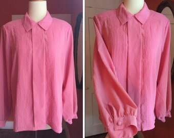 Vintage PINK PLEATS Pintucked Blouse Top - Semi-sheer button-down shirt S M
