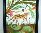 Cheetah drawing, wildlife art, Colorful original art, Framed art,cheetah in jungle with abstract details, fantasy art