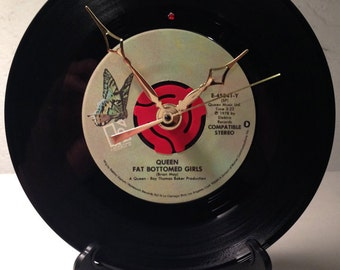 """Recycled QUEEN 7"""" Record / Fat Bottomed Girls / Record Clock"""