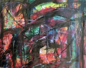 Number VI (celebration series) 9-21-16  (abstract expressionist painting, black, white, blue, purple, green, yellow, gold, red)