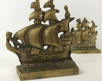 Brass Ship bookends Solid Brass