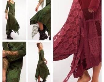GYPSIE DRESS, steampunk dress, fairy dress, elf dress, long sleeves dress, gothic dress, PIXIE dress, MFDRMAsm