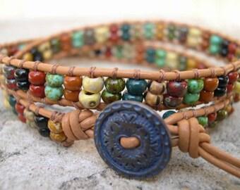 Leather Wrap Bracelet, Beaded wrap bracelet, Double Wrap Bracelet, Beaded leather wrap, Boho wrap bracelet - 802