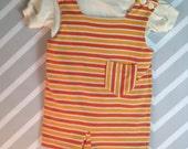 vintage carter's two piece shirt and striped shortalls set size 3T orange yellow white