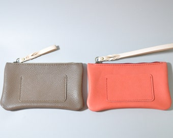 Leather Small Wallet, Taupe and Red, iphone zip wallet, iphone pouch, leather zip pouch, slim wallet, iphone wristlet, zip wallet