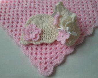 Crochet Baby Blanket, Hat and  Booties Set gift christening baptism baby shower photo prop
