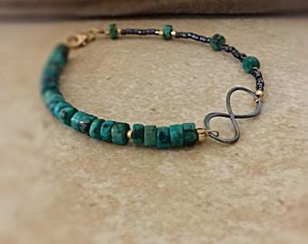 Infinity Bracelet Black Oxidized Infinity Bracelet Turquoise Beaded Bracelet Best Friend Gift Mother Daughter Jewelry Bracelet for Her