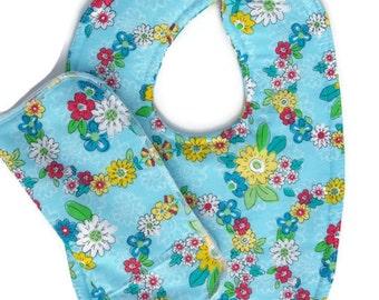 Flower Baby Bib - Bibs Girl - Gift sets - Cotton Bibs - Baby Girl Bibs - Dribble Bibs - Toddler Bibs - Handmade Baby Bib - Baby Shower Gifts